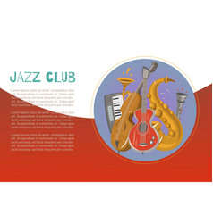 Jazz band and blues club jazz music party or vector