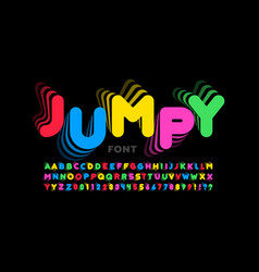 jumping style font vector image