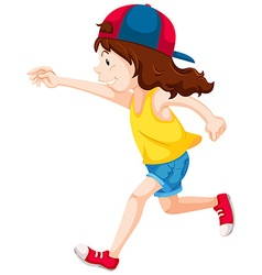 Little girl in yellow shirt running vector image