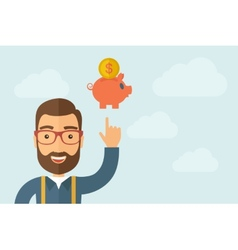 Man pointing the piggy bank icon vector