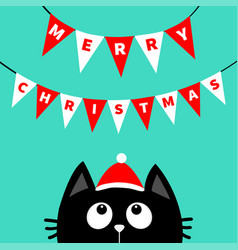 merry christmas black cat face head silhouette vector image