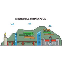 minnesota minneapoliscity skyline architecture vector image