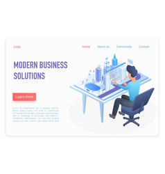 modern business solutions landing page isometric vector image