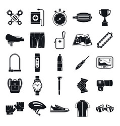 Modern cycling equipment icons set simple style vector