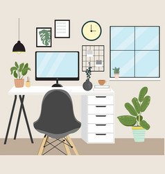 modern home office interior concept in simple vector image