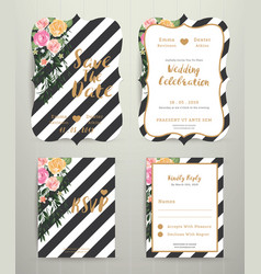 Modern wedding invitation card set on black and vector