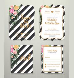 Modern wedding invitation card set on black and vector