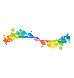 Multicolor curve rainbow waved lines vector