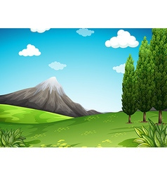 Nature scene with mountain and field vector