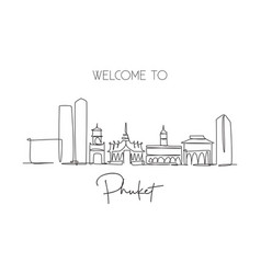 one continuous line drawing phuket city vector image