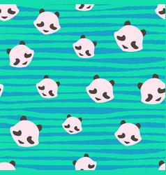 Panda bear cute strips animal seamless pattern vector