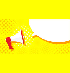 Picture megaphone on a yellow background pop art vector
