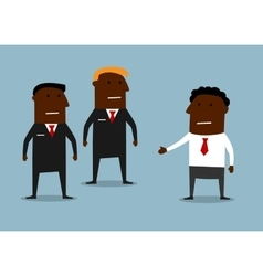 Powerful bodyguards guarding a businessman vector image