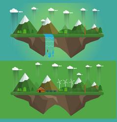 rainy landscape vector image