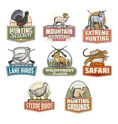 safari hunting open season animals icons vector image