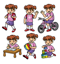 School girl set in various poses and activities vector