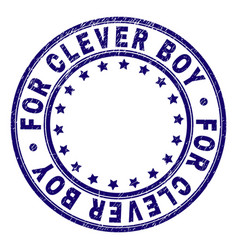 Scratched textured for clever boy round stamp seal vector