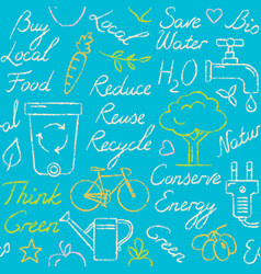 seamless pattern with eco symbols in sketch style vector image