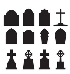 Set headstone and tombstone silhouette vector