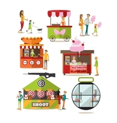 Set of amusement park design elements in vector