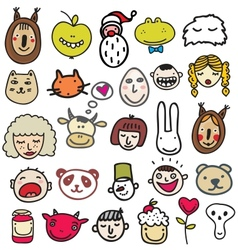 Set of doodle faces vector