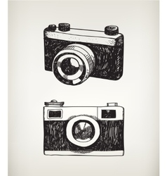 Set of hand drawn vintage cameras vector