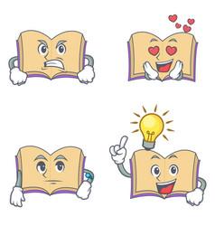 Set of open book character with angry love waiting vector