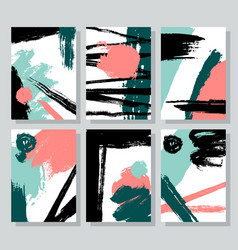 set of universal cards with brush strokes ink vector image