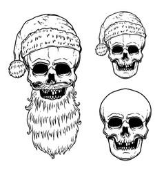 set santa claus skull design element vector image