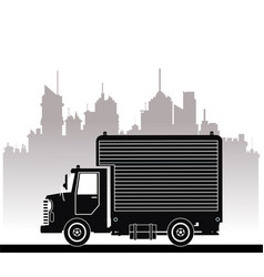 silhouette truck commercial service urban vector image
