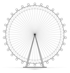 Silhouetted carousel ferris wheel high openwork vector
