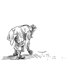 Sketch jain man sweeping with a broom hand drawn vector
