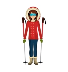Skier avatar with equipment vector
