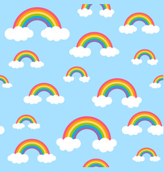 sky pattern with rainbows and clouds vector image