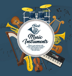 Sound equipment and music instruments with notes vector