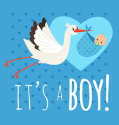 Stork with baby boy vector