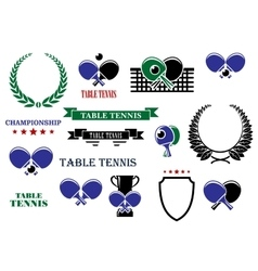 Table tennis game heraldic elements vector