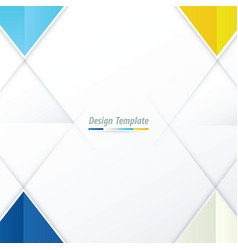 Template triangle design blue yellow blue vector