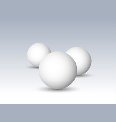 three white spheres balls or orbs 3d vector image