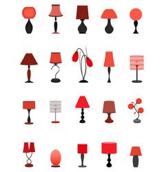Twenty elegant stylish graceful lamps collection vector