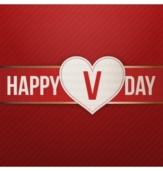 Valentines Day realistic Heart Label on red Ribbon vector
