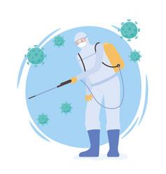 Virus disinfection covid19 19 coronavirus man vector