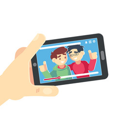 watching video on smartphone friends hand vector image