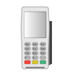 White pos terminal icon realistic style vector