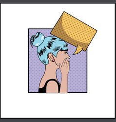 woman with blue hair and speech bubble pop art vector image