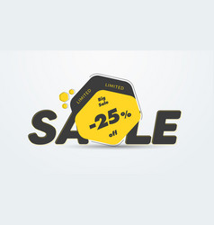 Yellow tag design for big sale and 25 percent vector