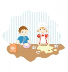 boy and girl baking cookies vector image vector image
