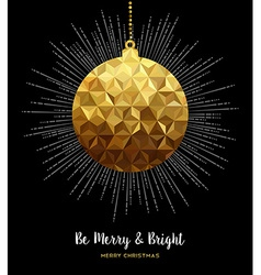 Gold Christmas ornament bauble in low poly style vector image vector image