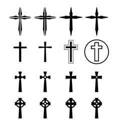 Set of crucifix and cross silhouette in modern vector