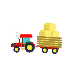 tractor with balls of hay on trailer icon vector image